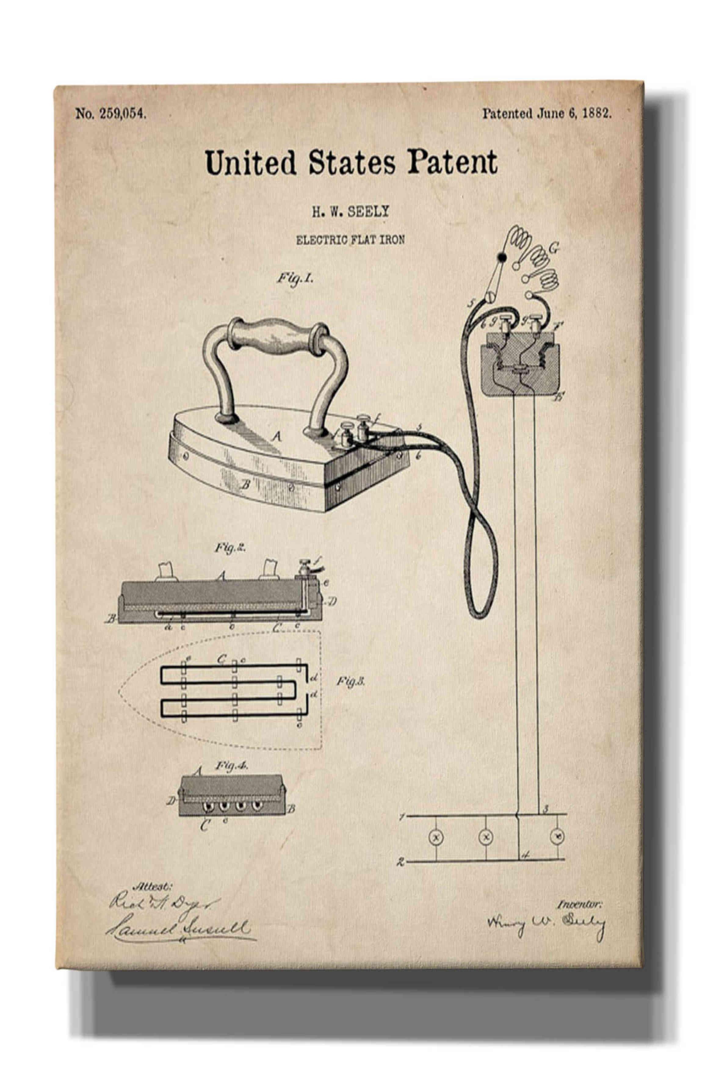 Epic Graffiti 'Electric Flat Iron Blueprint Patent Parchment
